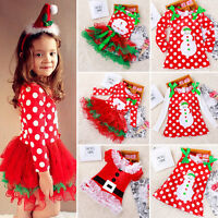 enfants bébé fille Père Noël tutu robe princesse Tulle jupe noël fête costume