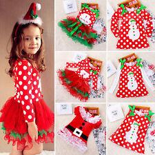enfants bébé fille noël fête de Noël princesse manches longues tutu robe jupe 1