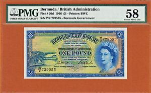 Bermuda 1966 One Pound QEII S/N 729555 Pick-20d Ch Abt UNC PMG 58