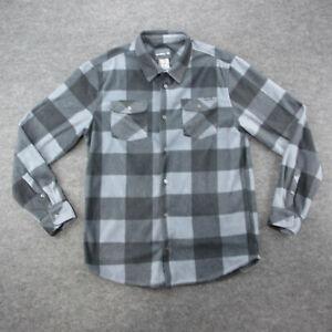 O'Neill Shirt Men's Size Large Gray Fleece Plaid Long Sleeve Button Down Shirt