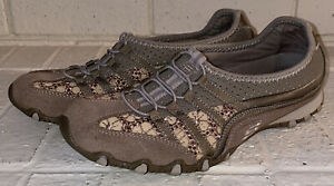 Skechers Sport Leather Bikers Bungee Slip-On Walking Shoes Womens Size 7.5