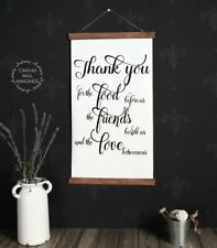 Wood Hanging Canvas Sign, Thank You Verse Kitchen Art Home Decor Wall Hanging
