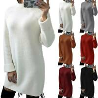 Women Long Sleeve Pullover Knitted Sweater Mini Jumper Dress Blouse Tops Shirts