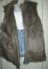ROUGE Faux Fur Vest Coat Sleeveless Long Hair Waistcoat Gilet Jacket Outerwear
