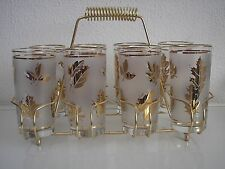 8 Mid Century Libbey Golden Foliage Leaf Cocktail Glass Tumblers Starlyte EUC