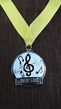 gold enameled Music medal award yellow neck ribbon