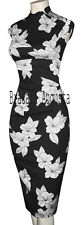 KAREN MILLEN ORIENTAL CORSET BLACK & WHITE LILIES PRINT DRESS 12