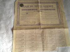Vintage share certificate Stock Bonds Unis de Brazil Etat de Minas-Geraes 1916