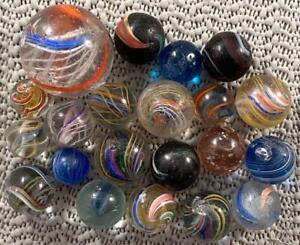LOT 21 GERMAN MARBLES Latticinio Divided Solid Core Mica Indian 17/32 - 1 3/16""