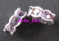 100Pcs SP Purple Crystal Rondelle bead cap spacer10mm M848