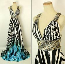 NEW $500 Jovani Size 6 Prom Formal Multi Black Gown Long Dress Sleeveless Cruise