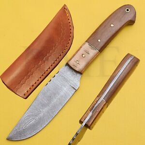 Handmade Damascus Hunting Skinner Knife With Pakka Wood Handle # 1477