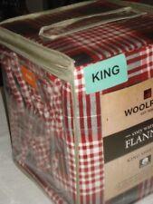 """Woolrich KING XDeep flannel sheet set - RED/BLACK plaid 17"""" H mattress"""