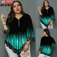 Plus Size Women's 3/4 Sleeve T Shirt Blouse Ladies Casual Loose Printed Tops Tee