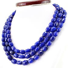 Earth Mined 976.00 Cts Blue Sapphire 3 Line Oval Shape Faceted Beads Necklace
