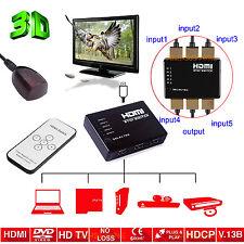 1080p 5 Port 3D 1.4 v HDMI commutateur sélecteur Splitter Box pour jeux DVD BLURAY HDTV