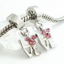HOT 1pcs silver mouse LOVE European Charm Beads Fit 925 Necklace Bracelet Chain