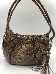 NWT Brighton Your Bag  Studded Snake Strap Purse Taupe Leather  MSRP $50