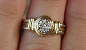 Vintage 14kt White & Yellow Gold Ring With Diamonds - Size 7.5 / 5.8 Grams