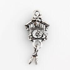 10 Cuckoo clocks Tibetan Silver Charms Pendants Jewelry Making Findings HN414