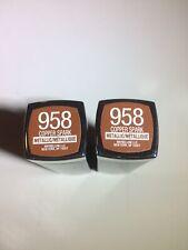 Lot of 2 Maybelline Color Sensational Lipstick 958 Copper Spark Metallic Brown