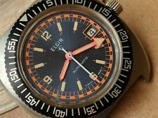 Exotic Vintage Elgin Diver Watch w/Blue Dial,Deep Patina,Serviced,Running Strong