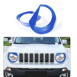 Blue Front Light Bezel Angry Bird Style Headlight Bezels Cover for Jeep Renegade