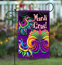 NEW Toland - Happy Mardi Gras - Colorful Celebrate Double Sided Garden Flag