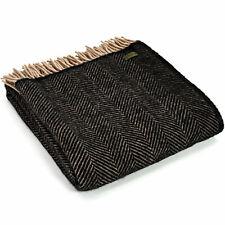 TWEEDMILL 100% Wool Sofa Bed Throw Blanket Rug HERRINGBONE VINTAGE BLACK & BEIGE