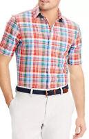 Chaps Men's Size L Linen Blend Button Up Shirt Multicolor Plaid Short Sleeve EUC