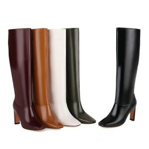 Women's 9cm High Heel Microfiber Leather Square Toe Shoes Knee Boots UK All Size