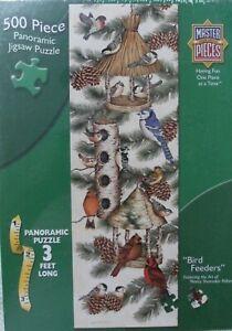 Bird Feeders Panoramic Jigsaw Puzzle 500 Pieces 3 feet SEALED BLUEJAY CARDINAL