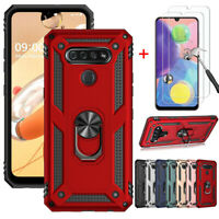 For LG K51 Q51 Case Magnetic Ring Kickstand Military Cover With Screen Protector