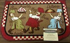 """FAT CHEF PRINTED NYLON KITCHEN RUG (nonskid back) (16"""" x 24"""") 3 Chefs, D Shape"""