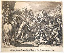 Gravure Etching Kupferstich Bible de Royaumont Sébastien Leclerc Abigail Nabal