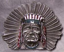 Pewter Belt Buckle novelty American Indian Chief NEW Full Face