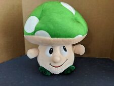 "Super Mario Brothers Plush Mushroom Shroom, Green Cap Toy Factory 2013 10"" Rare"