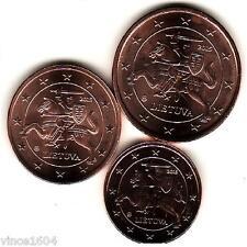 lot 1,2,5 cts cent euro Lituanie / Lituania 2015 qualité UNC !!! voir scan