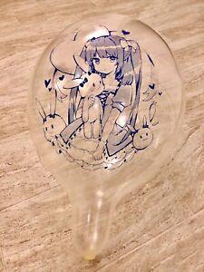 "10x Kawaii Anime Girl [AX-01] Printed Balloons Clear Tuftex 17"" (Blue Ink)"
