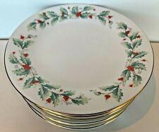 "8 Christmas Dessert Bread Salad Plates 7.5"" China Pearl Porcelain Noel Holly"