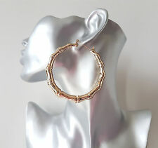 Gorgeous 7cm gold tone bamboo creole style hoop earrings * New smooth style*