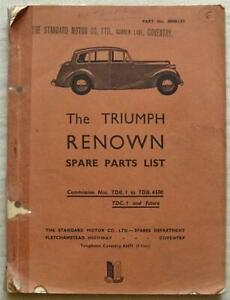 TRIUMPH RENOWN Car Illustrated Spare Parts List Catalogue 1953 #500451/53