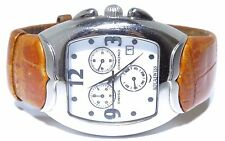 Mens Aqua Swiss Stainless Steel Brown Band Chronograph Watch