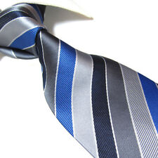 XL Polyester Tie,Microfibre Gray/Blue Stripe Men's Necktie TPL245 Extra Long 63""