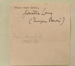 MARJORIE BOWEN.(LONG)  GOTHIC HORROR / SUPERNATURAL WRITER  GENUINE  AUTOGRAPH