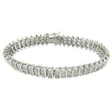 Genuine 1.50 Ct Diamond Tennis S-Link Bracelet 7.5 Inches In 14K White Gold Over