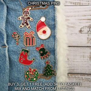 UK Christmas Festive Fashion Enamel Pins. Cartoon Pin Badge Brooch Mixed Set