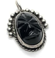Vintage Sterling Silver 925 Pendant Mexico Carved Face Mask Black Onyx Tribal