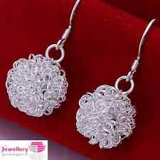 925 Silver Plated Twisted Mesh Ball Dangle Earrings Jewellery Womens Ladies Gift