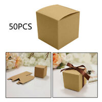 50 Pcs/Set Kraft Paper Square Candy Box with Ribbon DIY Wedding Gift Favor Boxes